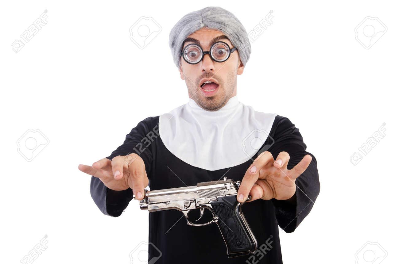 Joven Hombre Vestido Como Monja Aislado En Blanco Fotos