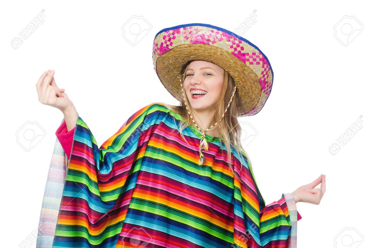 Pretty girl in mexican poncho isolated on white Foto de archivo - 40751135