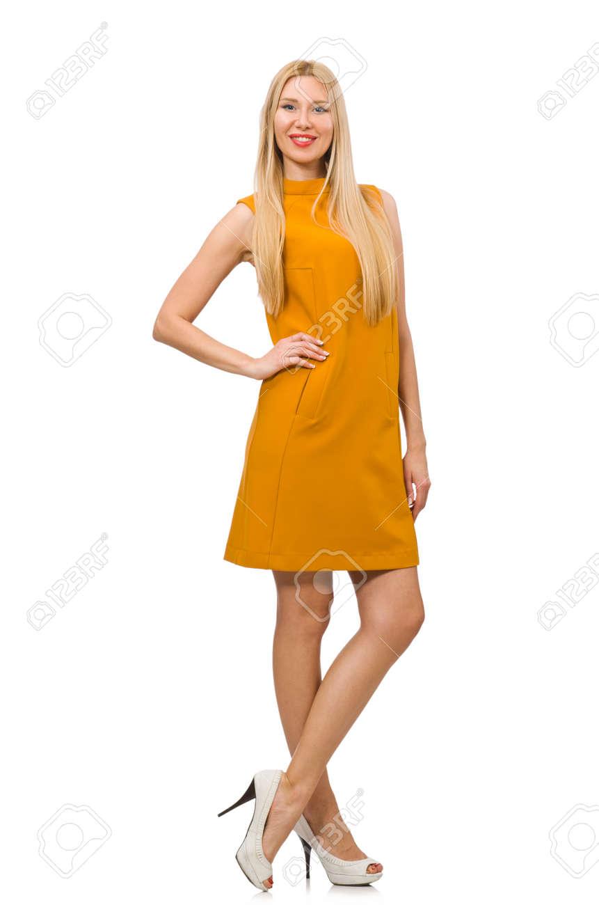 Aislado Chica Vestido Ocre Blanco Linda En 2bEIHYDeW9