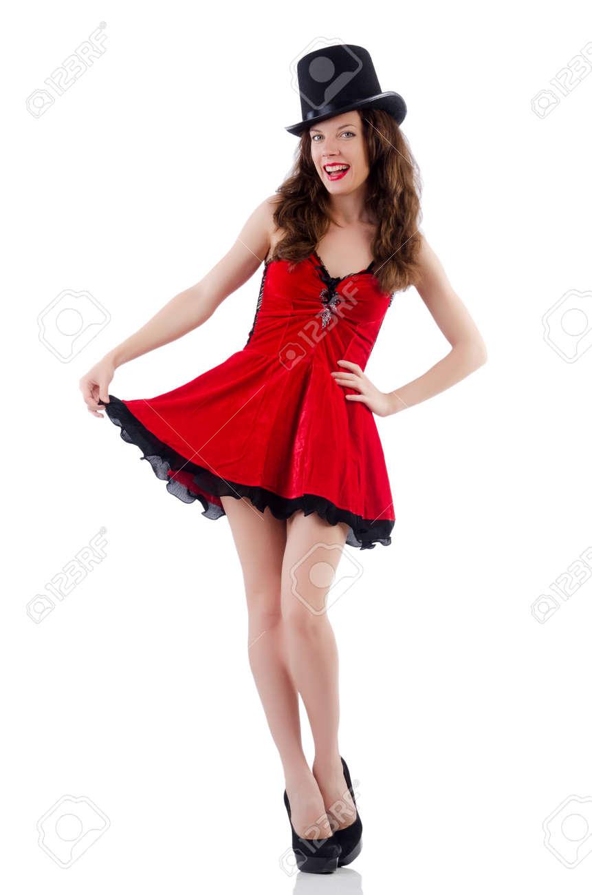 354c92929c Foto de archivo - Modelo femenino posando en mini vestido rojo aislado en  blanco