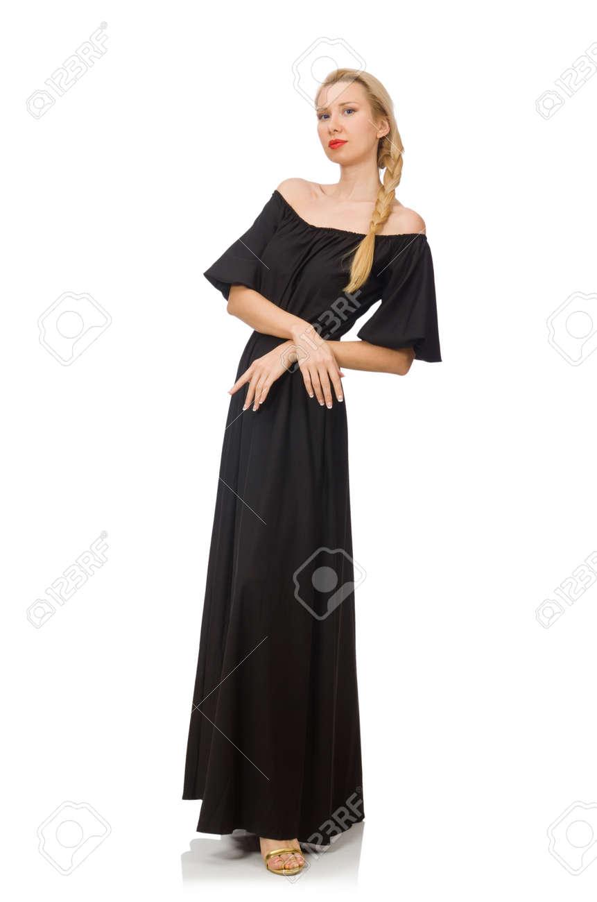 Mujer Alta En Vestido Negro Largo Aislado En Blanco