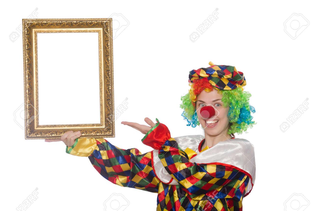 Funny Clown Mädchen Mit Rahmen Isoliert Auf Weiß Lizenzfreie Fotos ...