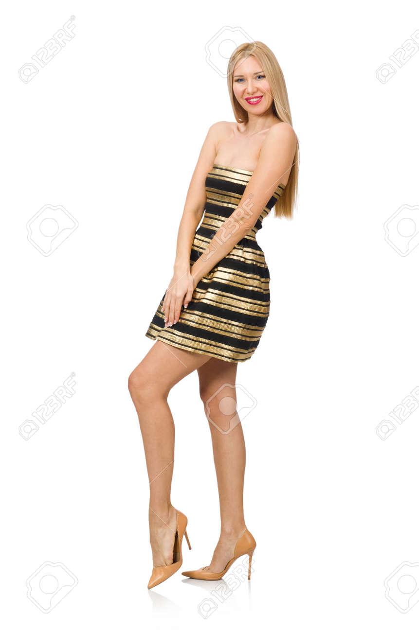b3d011751f7ec6 Mooi meisje in gouden en zwarte jurk geïsoleerd op wit Stockfoto - 44864586