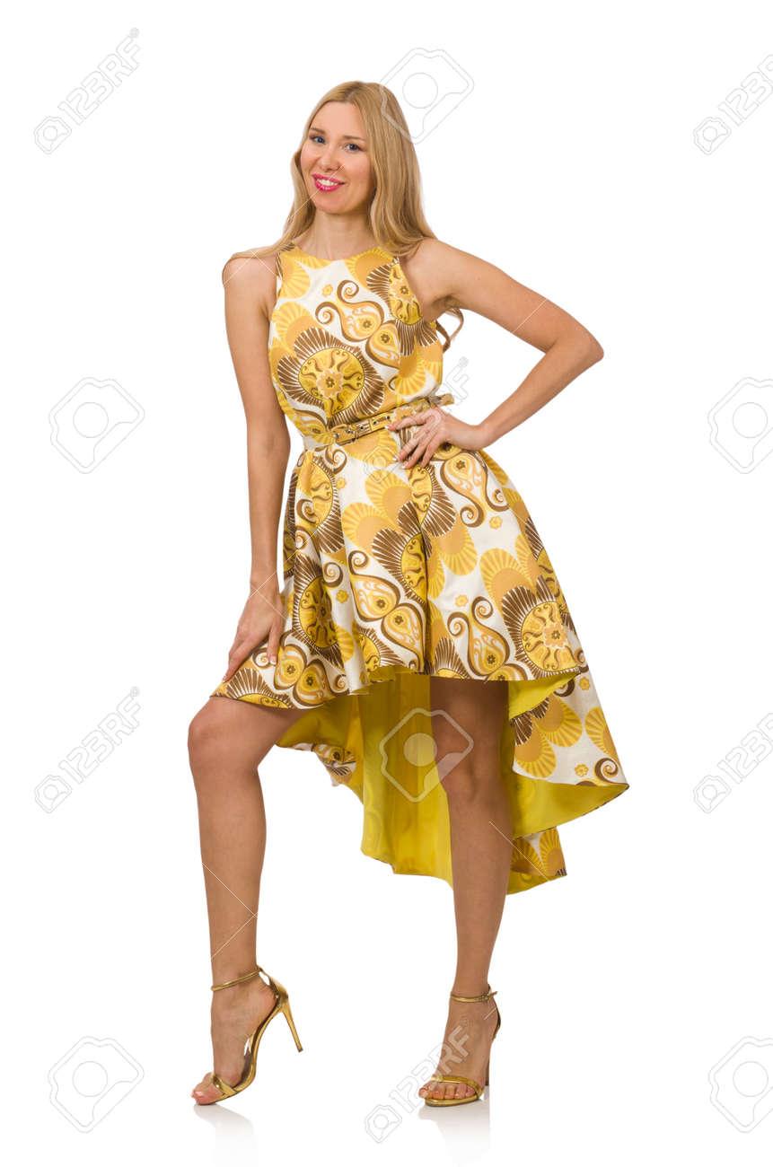 Jeune Femme En Longue Robe A Fleurs Isole Sur Blanc Banque D Images Et Photos Libres De Droits Image 45646606