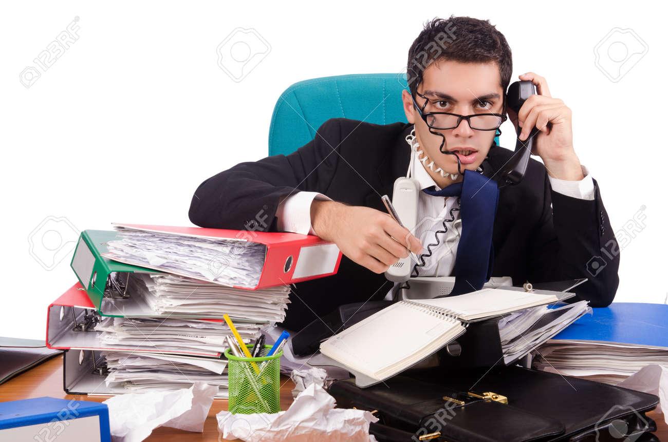Busy businessman under work stress Stock Photo - 45710536