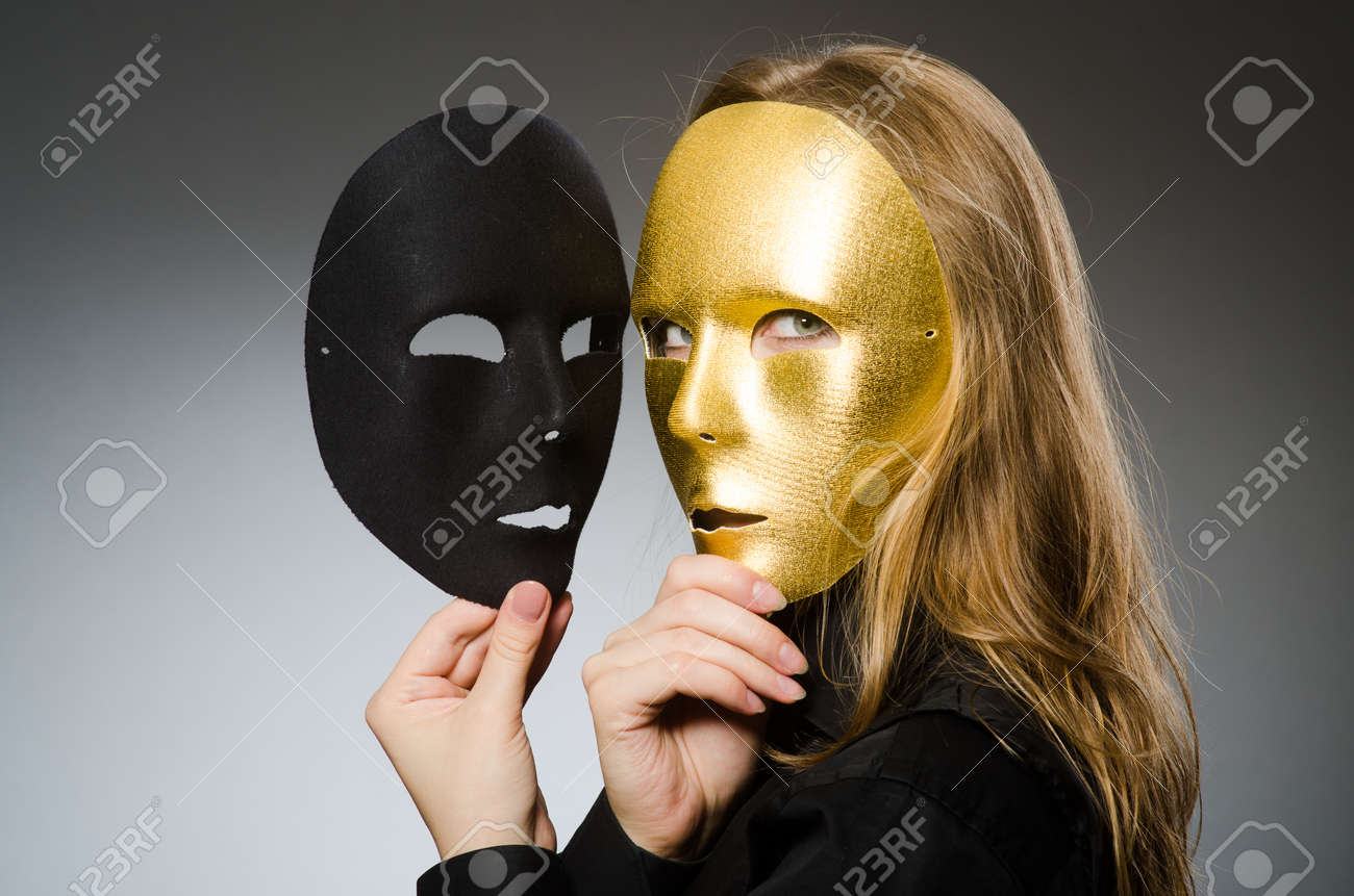 Woman with mask in funny concept Stock Photo - 46823555