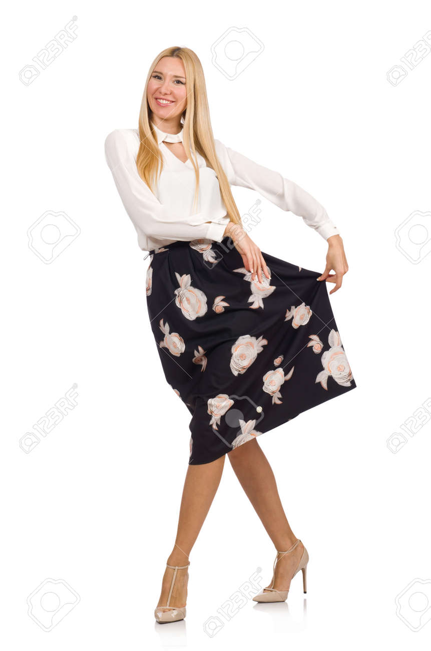Pretty Girl In Black Skirt With Flowers Isolated On White Stock
