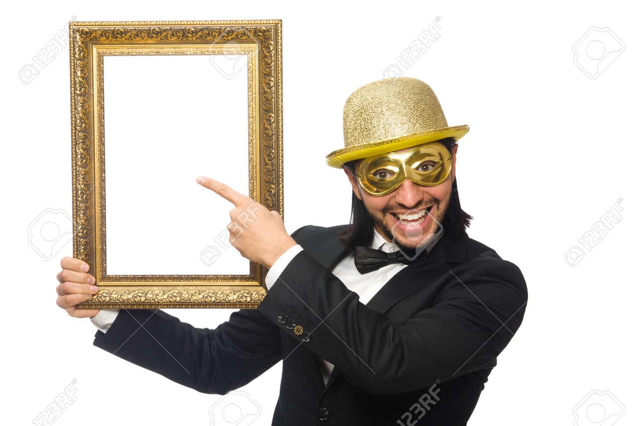 Lustiger Mann Mit Bilderrahmen Auf Weiß Lizenzfreie Fotos, Bilder ...