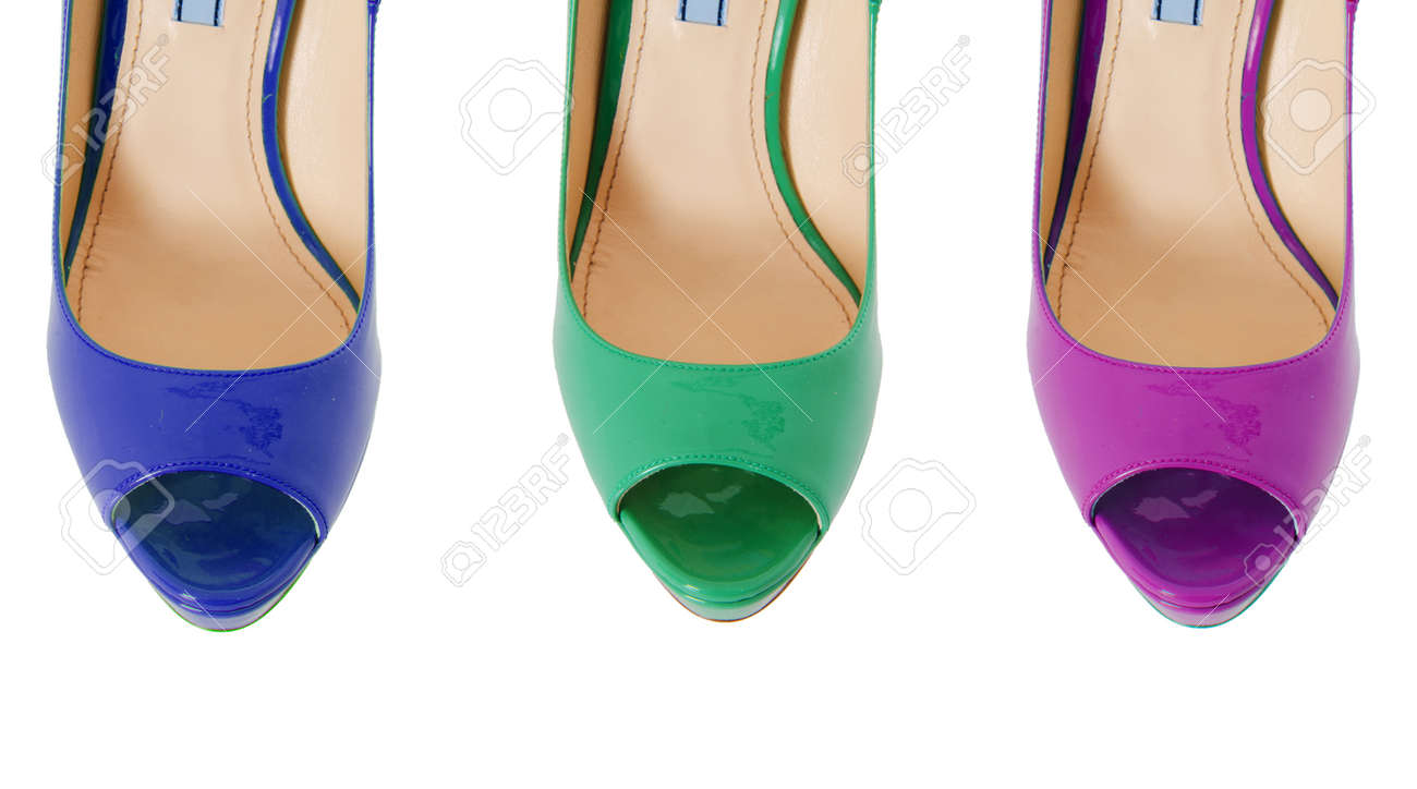 Blanc Colorées Sur Chaussures Femme Isolés EIWH9eYbD2