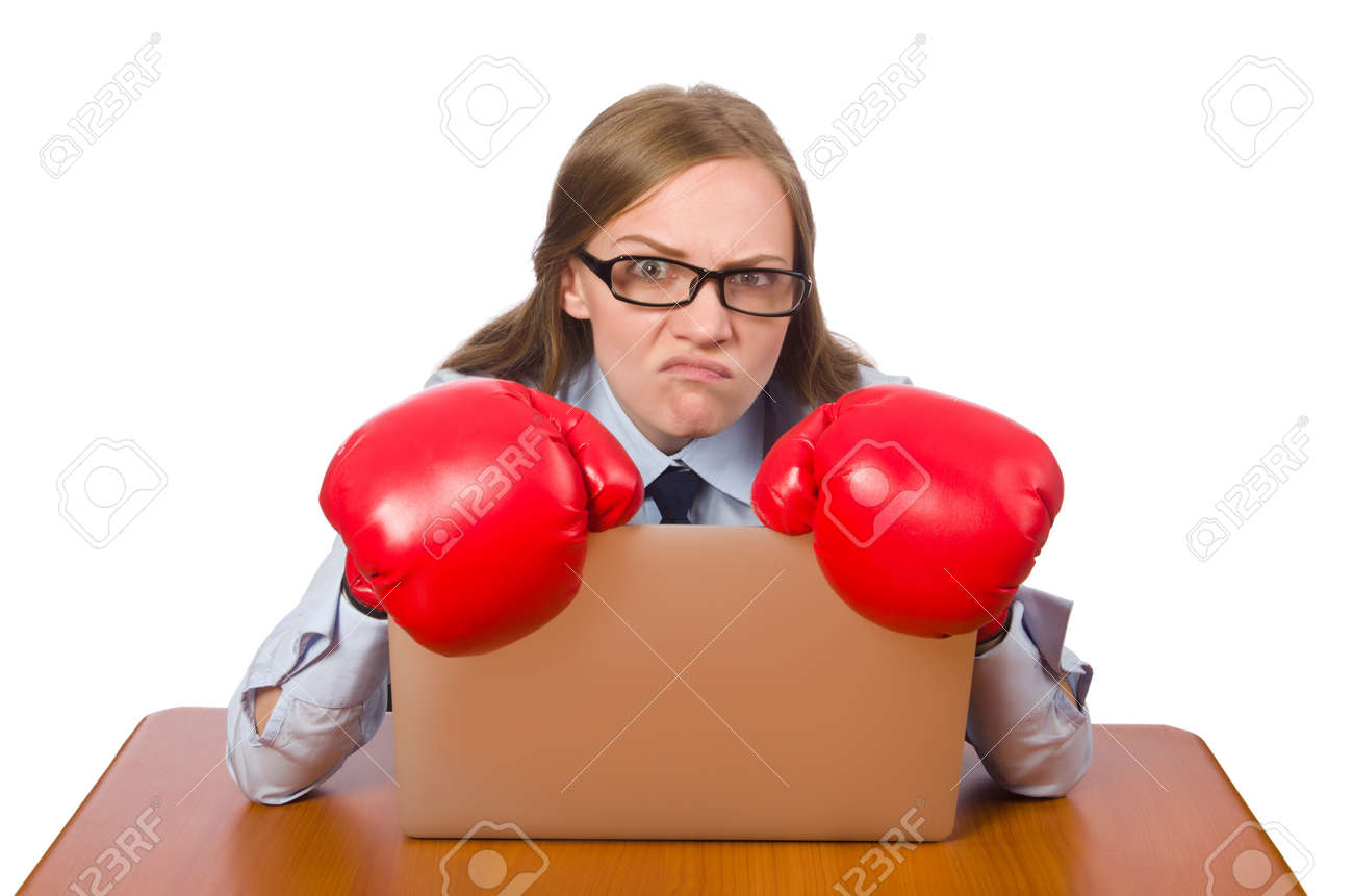 Office employee at job wearing box gloves isolated on white Stock Photo - 48374650