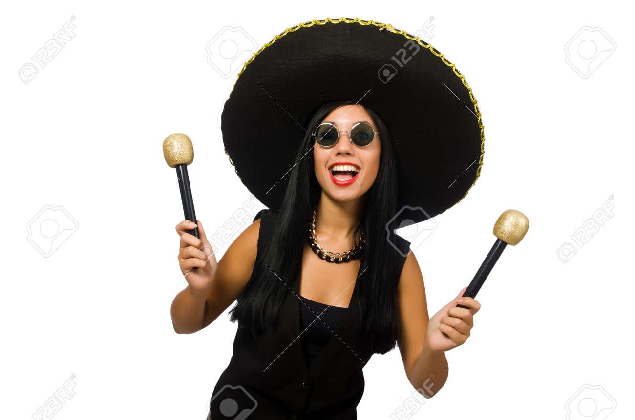 daa80d28067 Mujer Atractiva Joven Con Sombrero En Blanco Fotos, Retratos ...