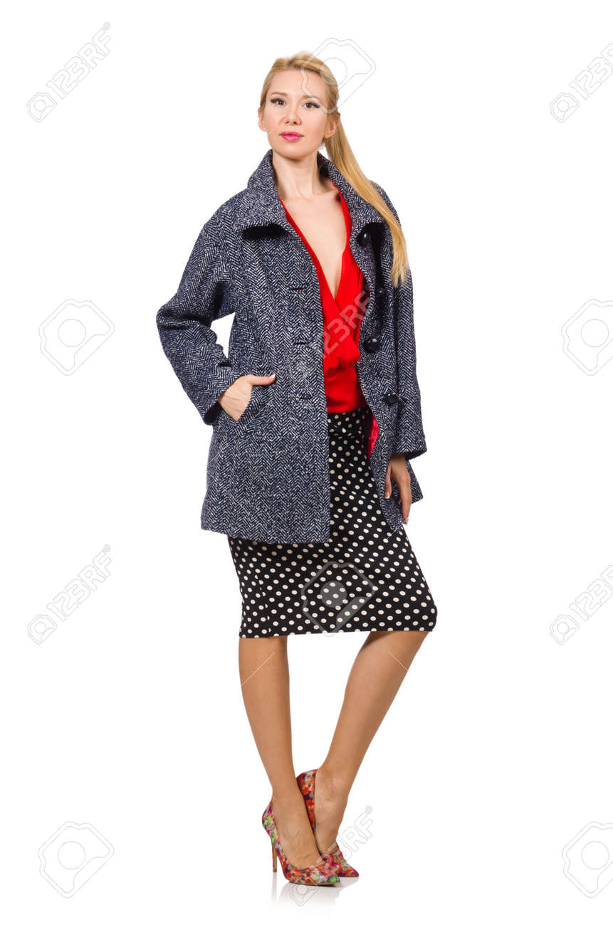 Mujer Aislado Abrigo 54554135 Pelo En Joven De Rubio Foto Gris Blanco Archivo rxrO0