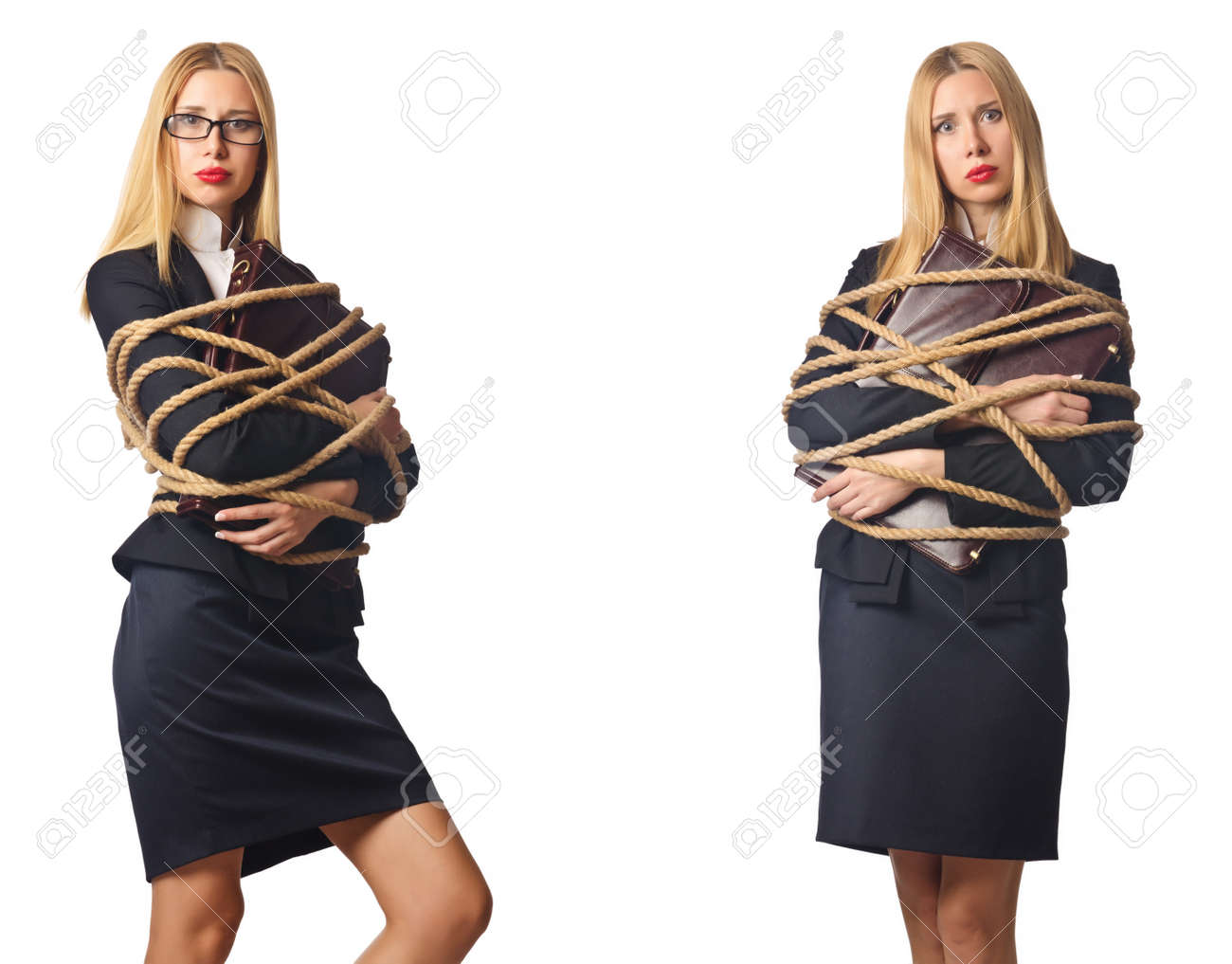 Woman tied up isolated on the white background - 55112630
