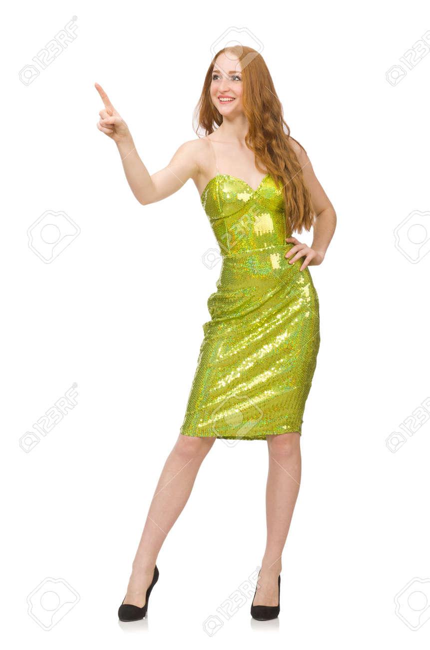 Vestido verde con rojo