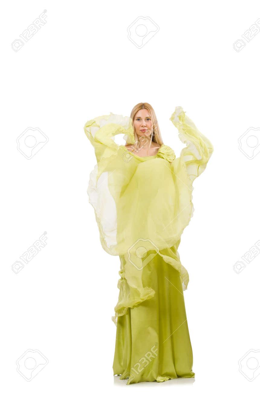 on sale 948a1 9850e Giovane donna in elegante abito verde lungo isolato su bianco