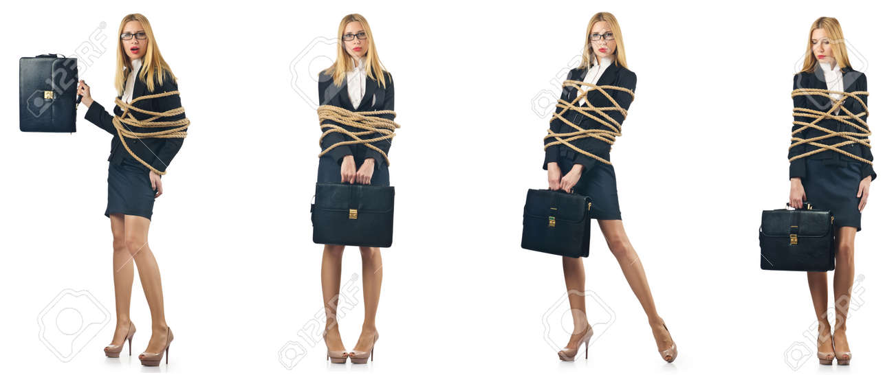 Woman tied up isolated on the white background - 57058271