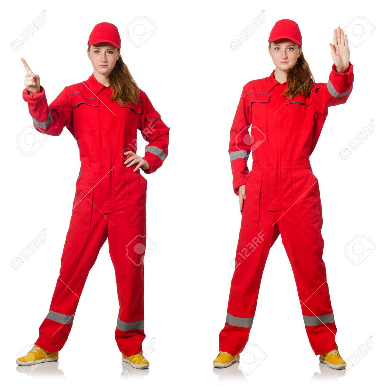Spiksplinternieuw Vrouw In Rode Overall Op Wit Wordt Geïsoleerd Royalty-Vrije Foto PL-62