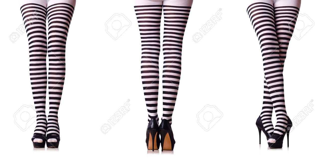 56ecfe8866422 Legs With Striped Stockings Isolated On White Stock Photo, Picture ...