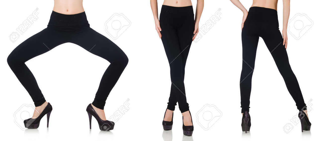 d467d01c032c4 Black leggings in beauty fashion concept isolated on white Stock Photo -  61571901