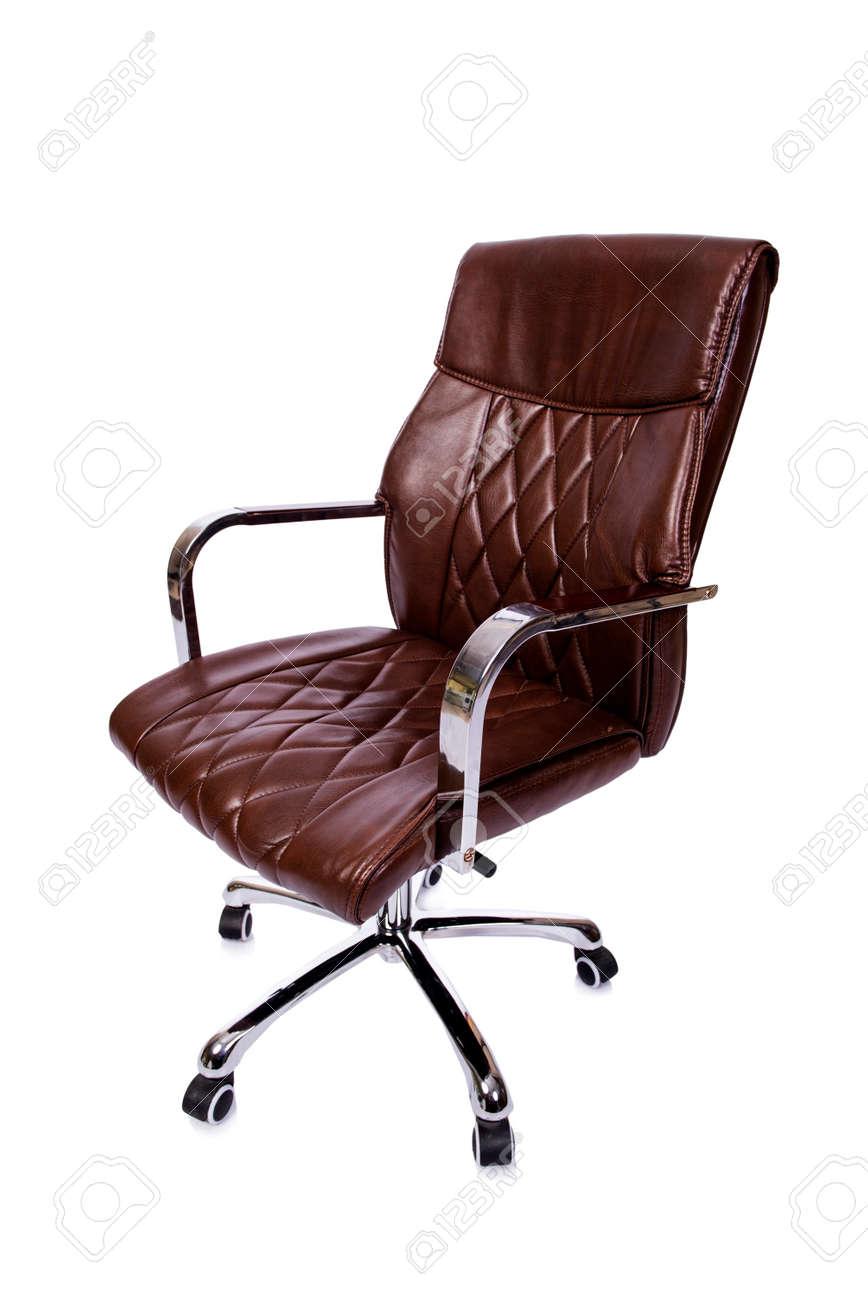 Nieuw Bruin Lederen Bureaustoel Op Wit Wordt Geïsoleerd Royalty-Vrije JW-19