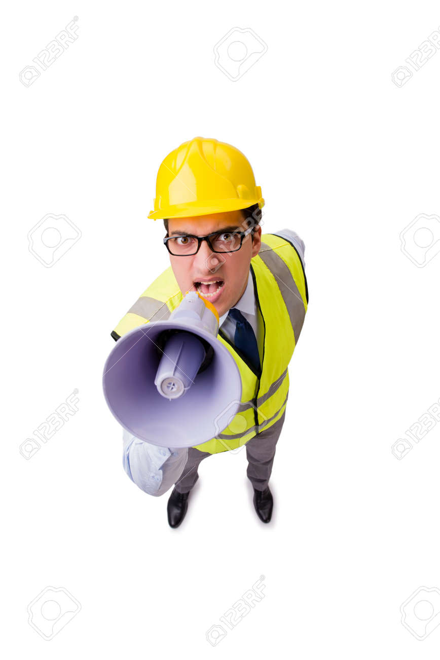 Angry construction supervisor isolated on white - 67522797