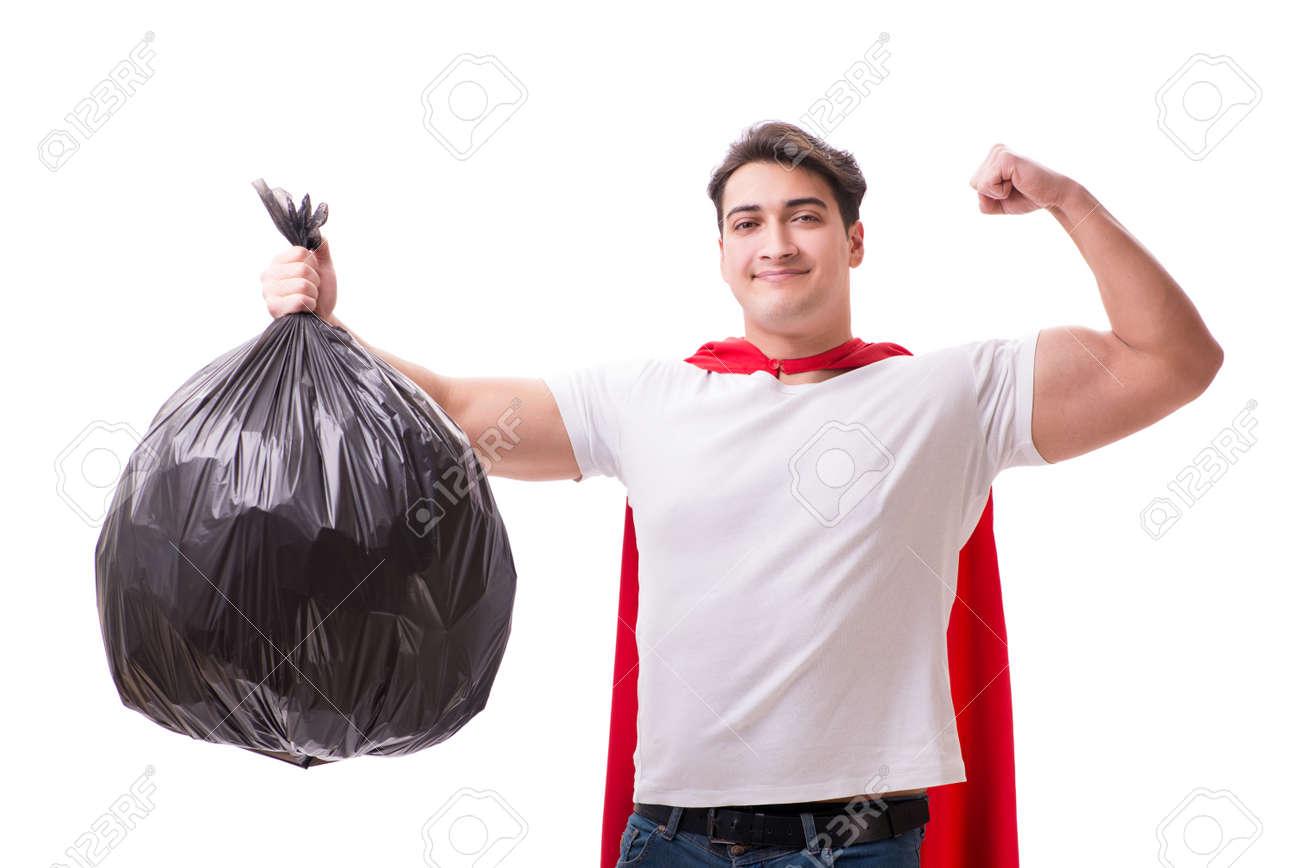 El Hombre Con El Saco De La Basura Aislado En Blanco Foto de