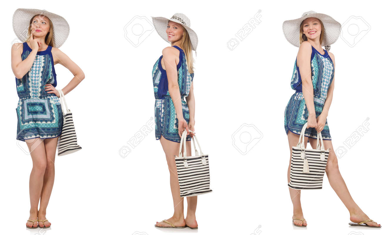 Collage of woman with panama hat isolated on white - 81838248
