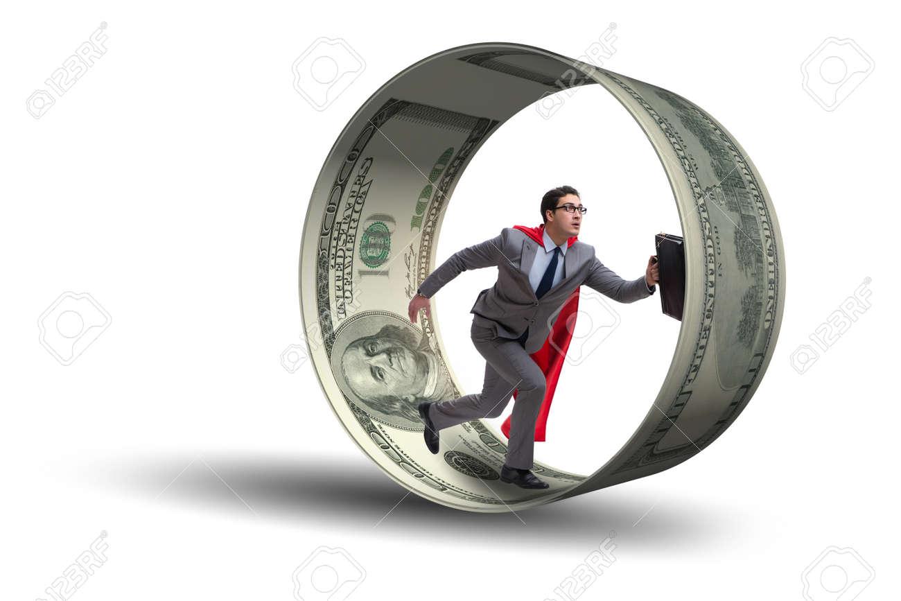 Businessman in hamster wheel chasing dollars - 84371960