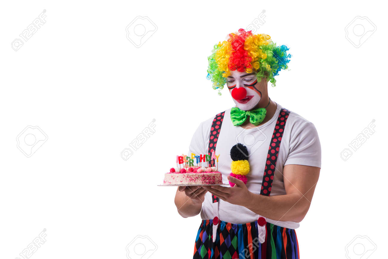 Sensational Funny Clown With A Birthday Cake Isolated On White Background Funny Birthday Cards Online Inifodamsfinfo