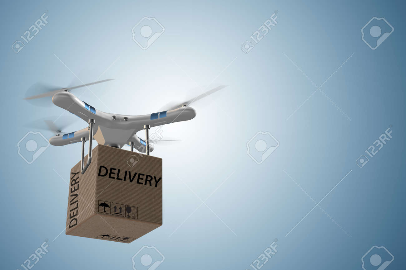 Drone delivery concept with box in air - 3d rendering