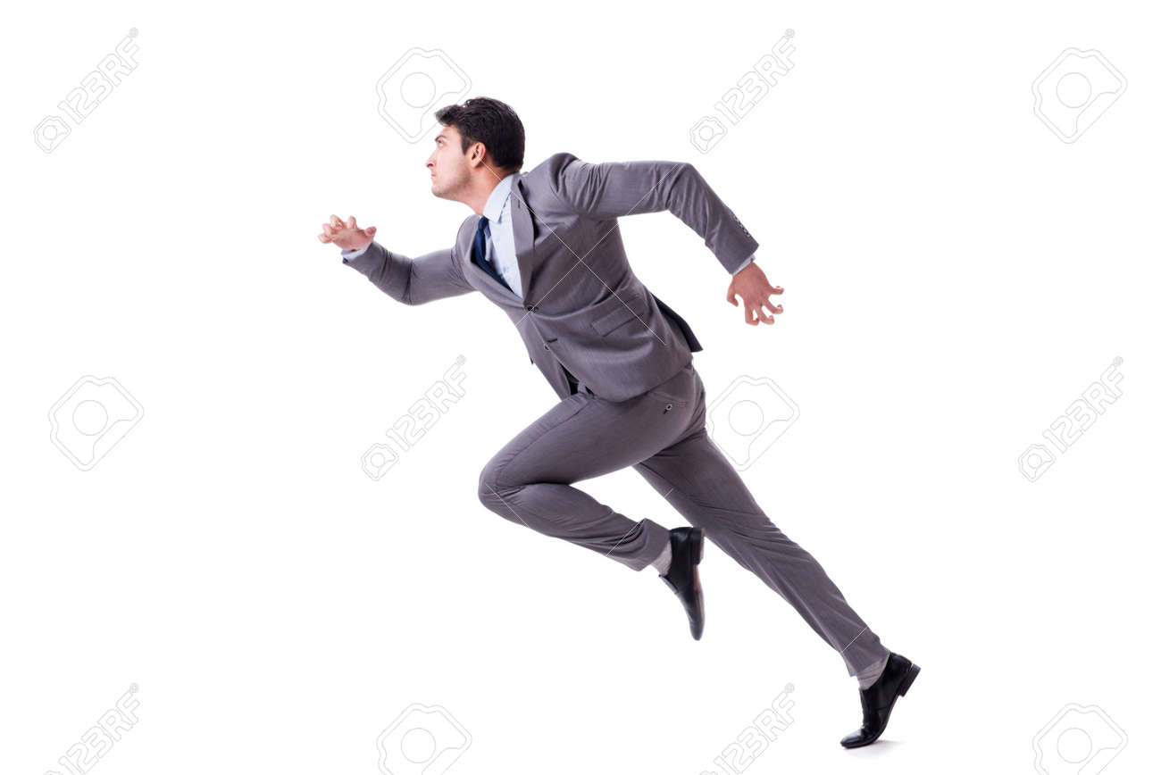Young businessman running forward isolated on white - 90799618