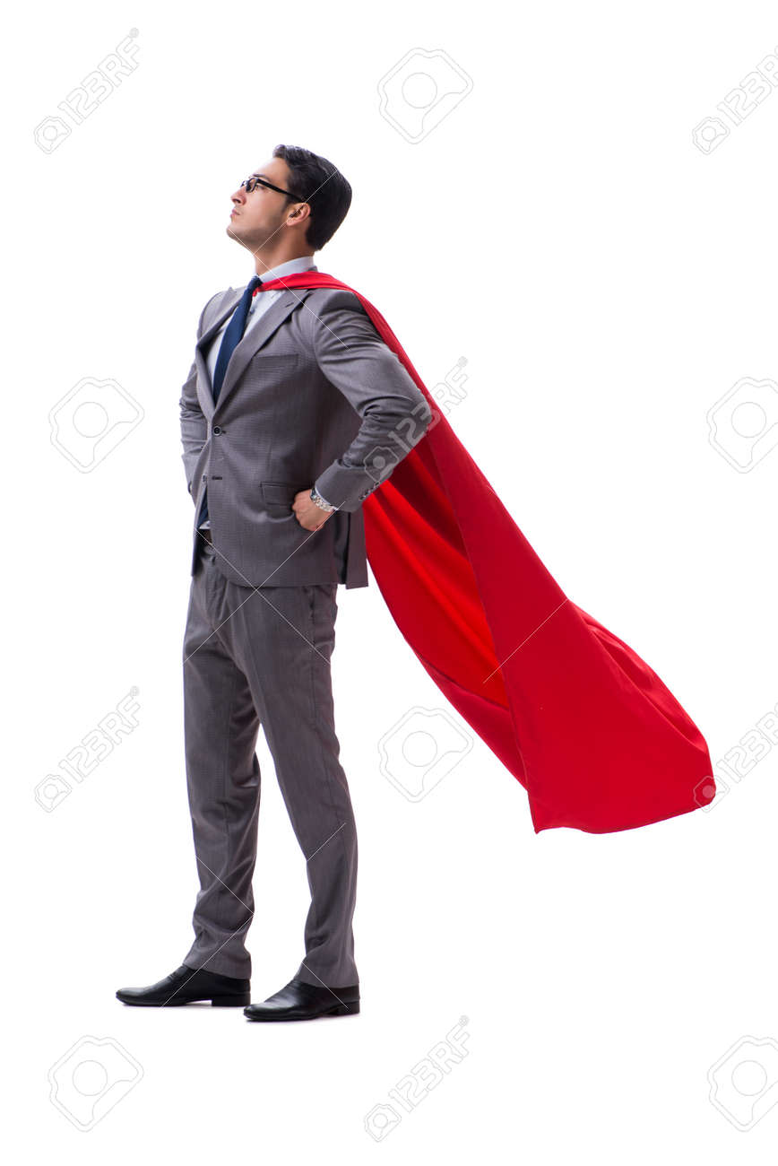 Super hero businessman isolated on white background - 107539861