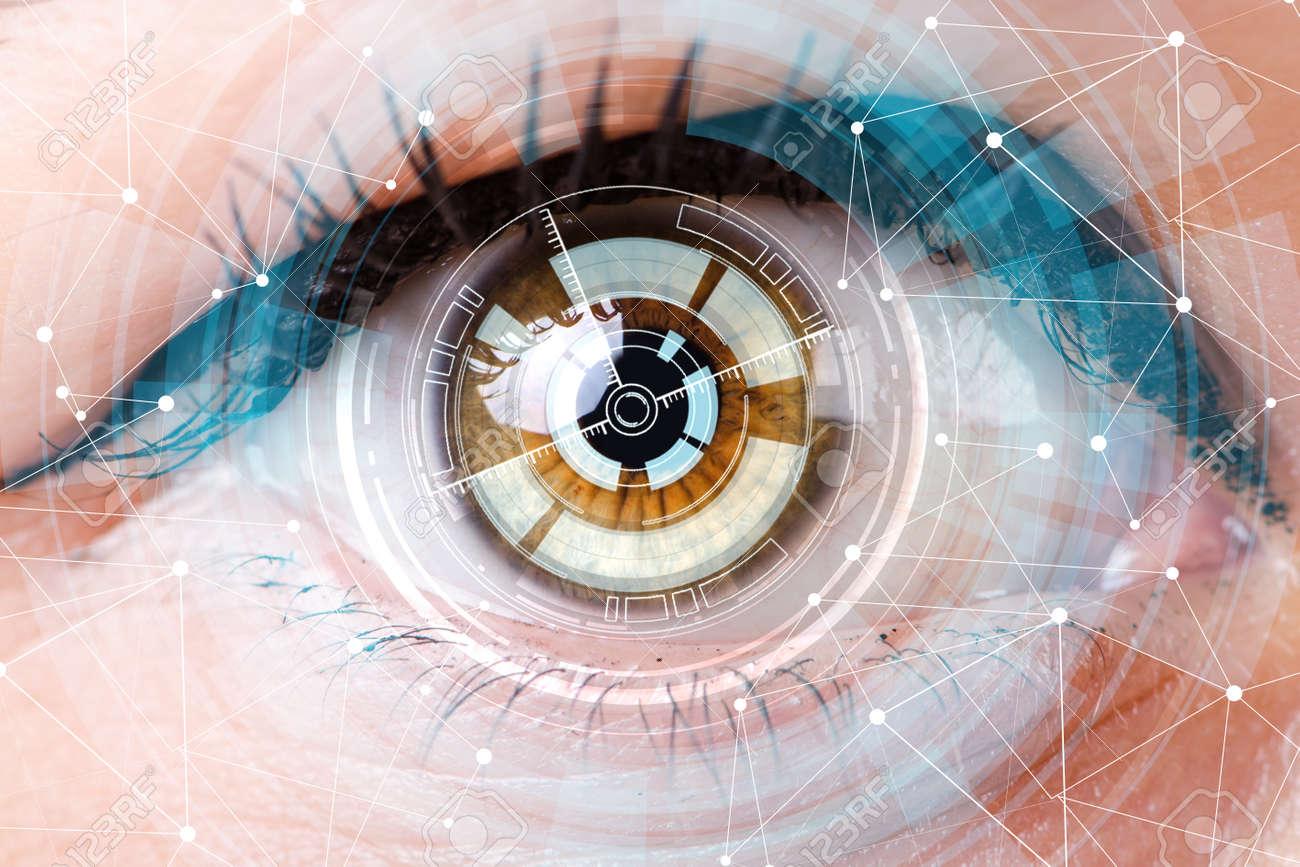 Concept of sensor implanted into human eye - 115448363