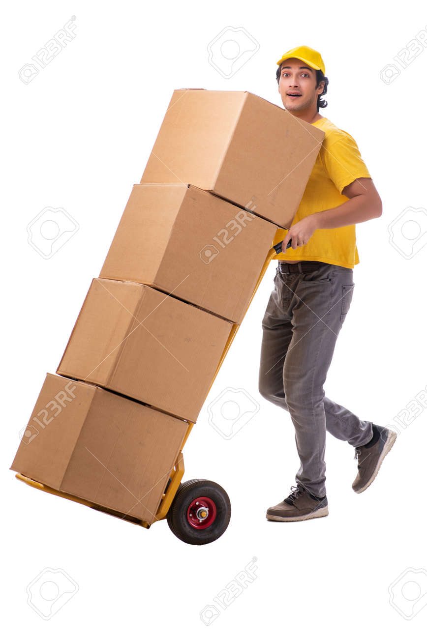 Young male courier with box - 116317778