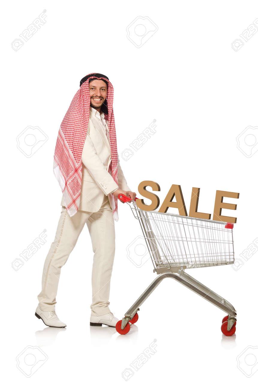 Arab man doing shopping isolated on white - 121901201