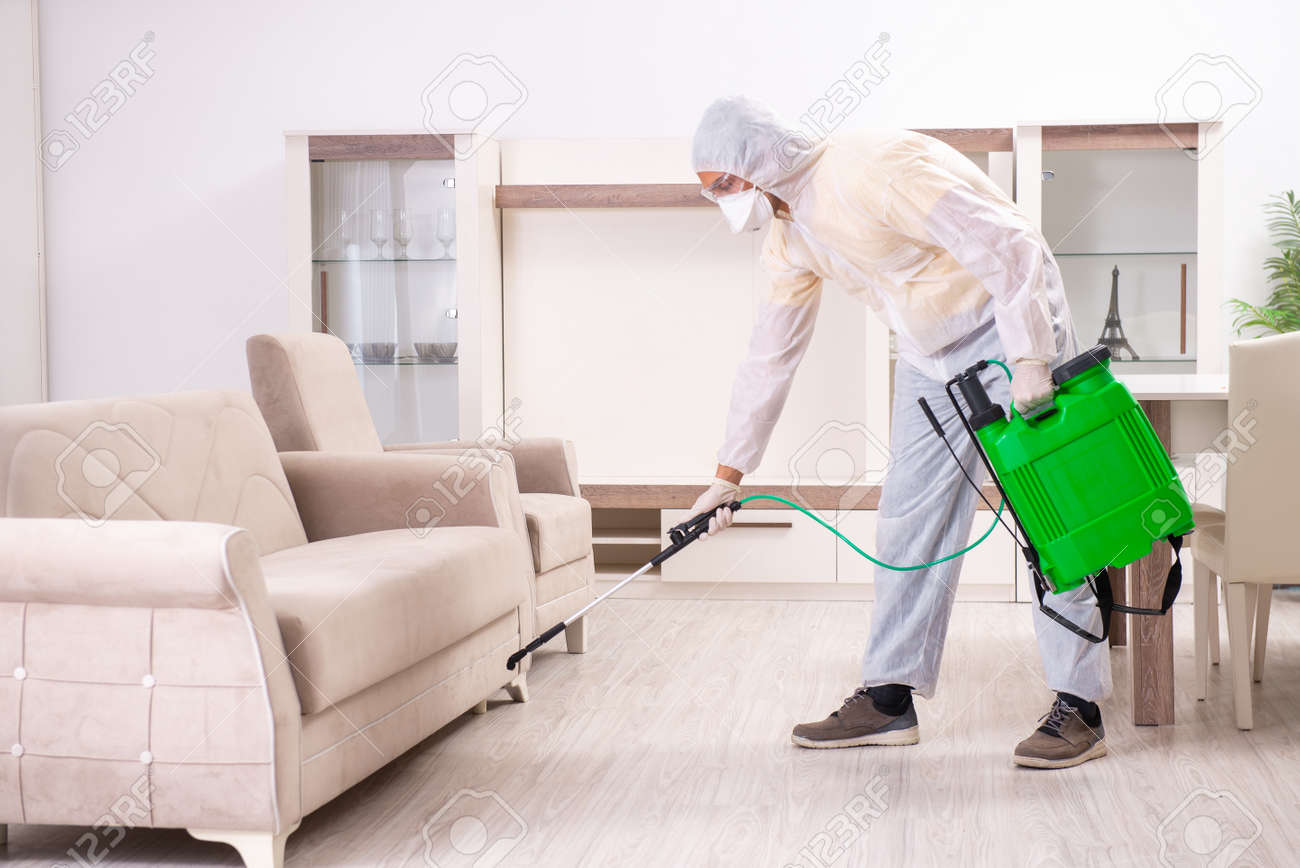 Pest control contractor working in the flat - 121779983