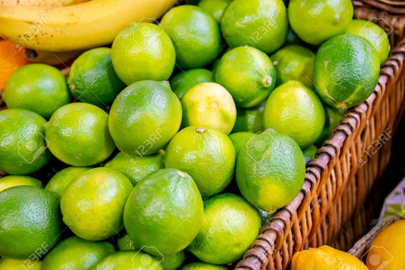Citrus fruits at the market display stall - 124219752