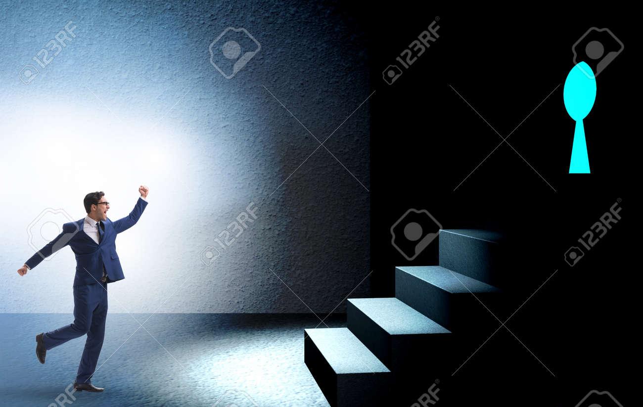 Businessman walking towards keyhole in challenge concept - 132766011