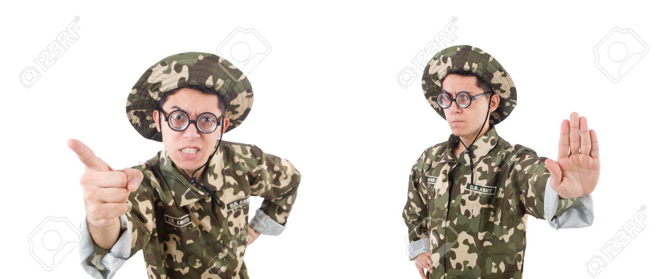 Funny soldier in military concept - 135265667