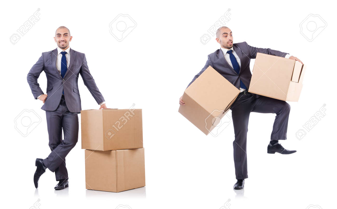 Businessman with box isolated on the white background - 141095333