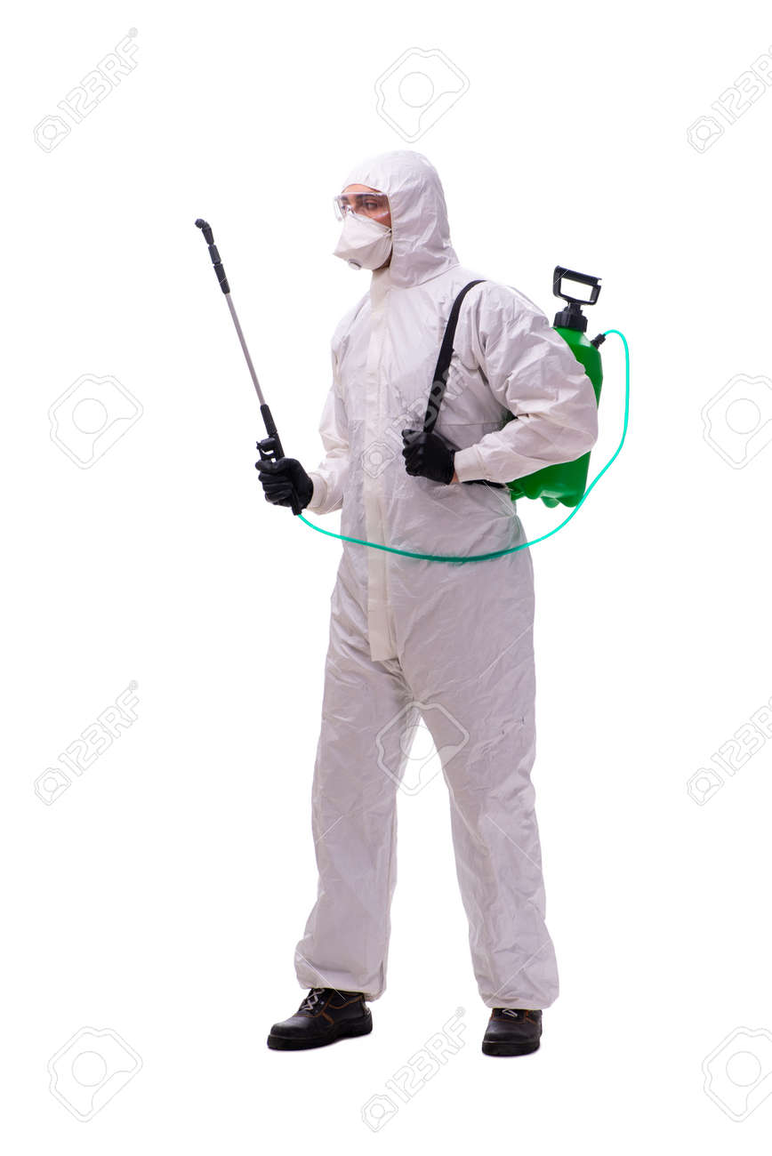 Young male contractor disinfecting in coronavirus concept - 144807562
