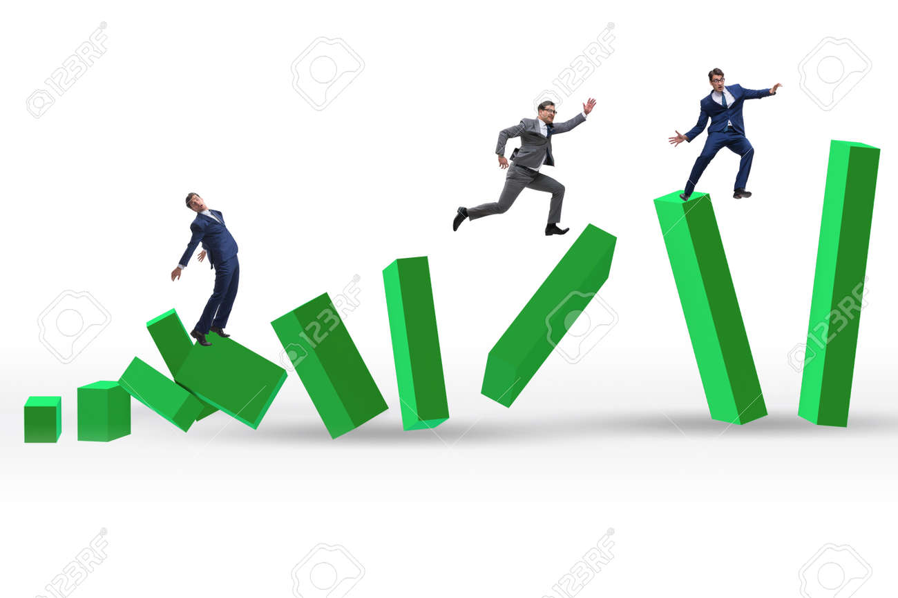 Business people in a collapsing economy concept - 146533471
