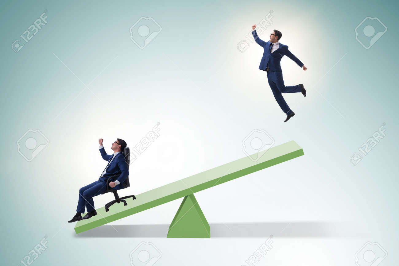 Competition concept with businessman and seesaw - 146688439