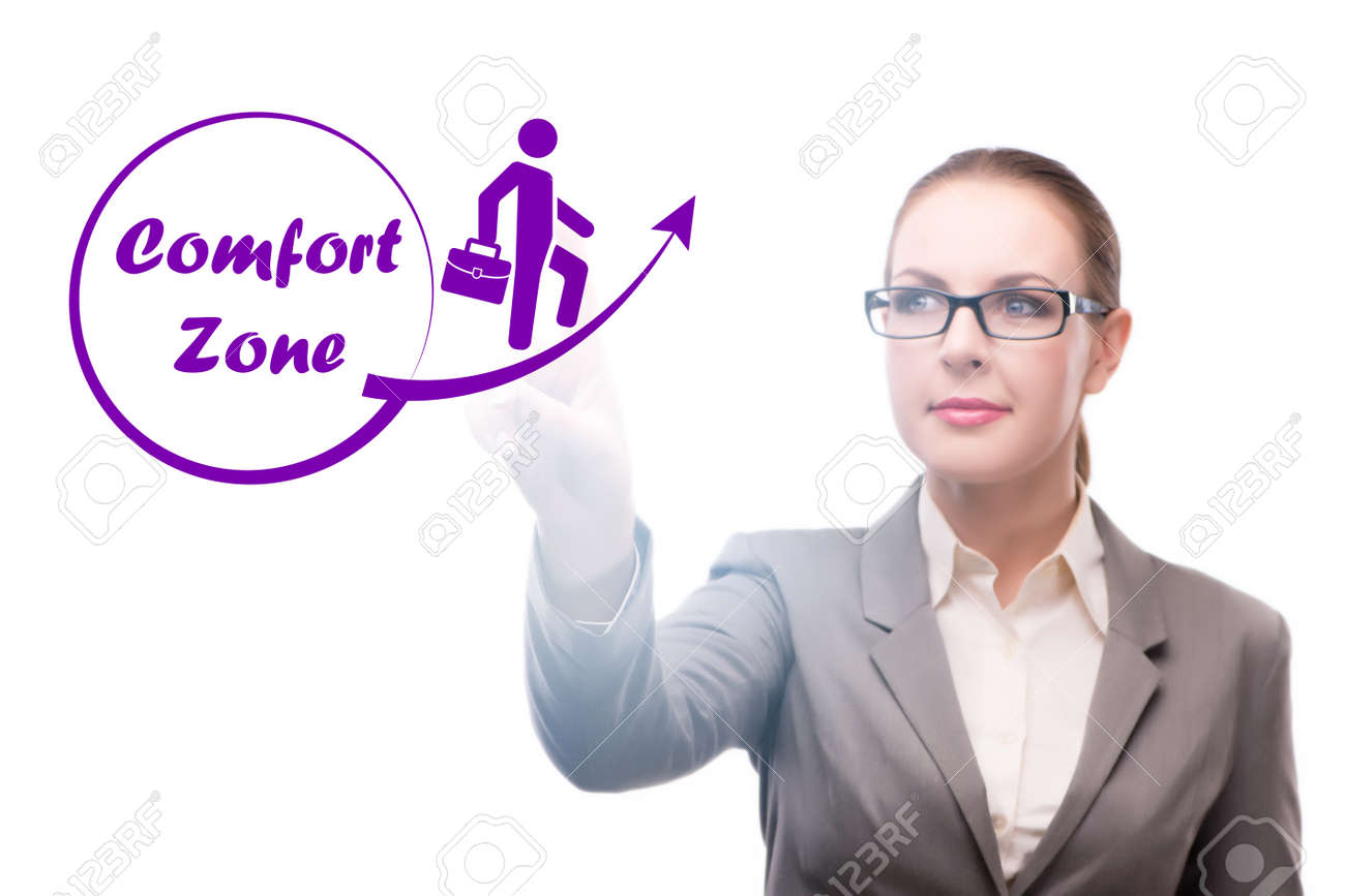 Businesswoman in the concept of stepping out of comfort zone - 169113588