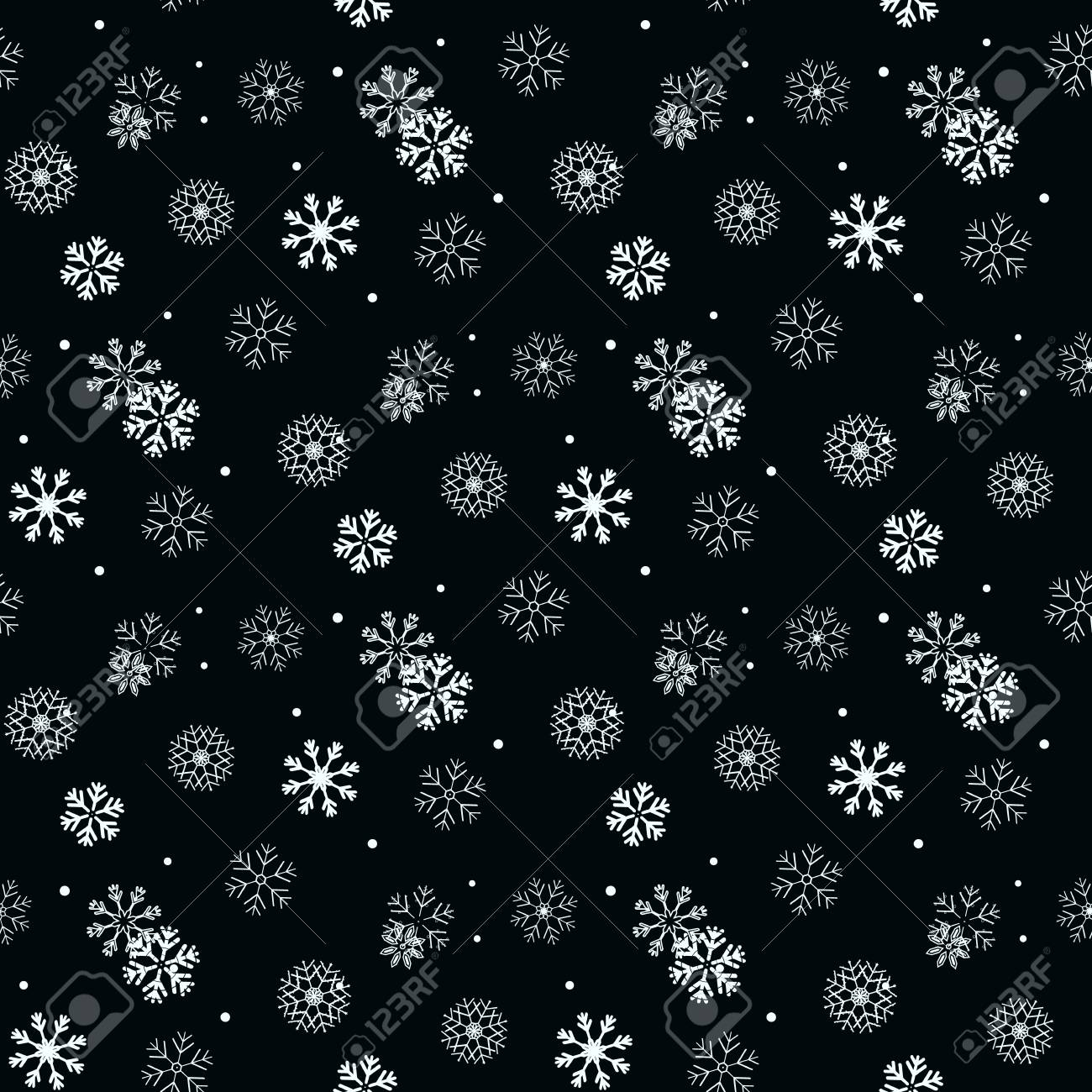 White Snowflake On Black Simple Seamless Pattern Abstract Wallpaper Wrapping Decoration Symbol Of Winter Merry Christmas Holiday Happy New Year