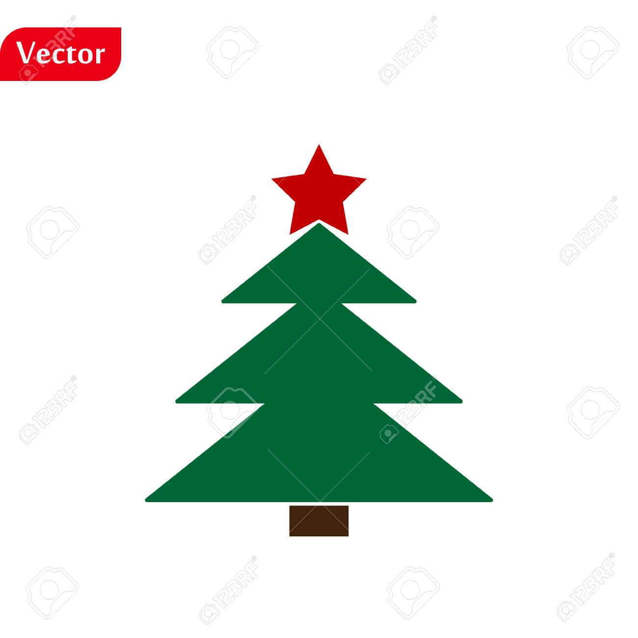 Christmas Tree Color Green Icon With Red Star Vector Design Royalty Free Cliparts Vectors And Stock Illustration Image 137887863