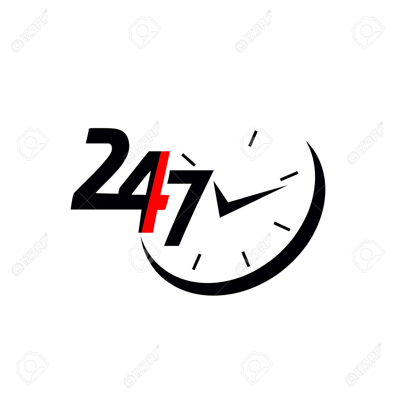 24/7.Service and support for customers. 24 hours a day and 7 days a week icon - 90491363