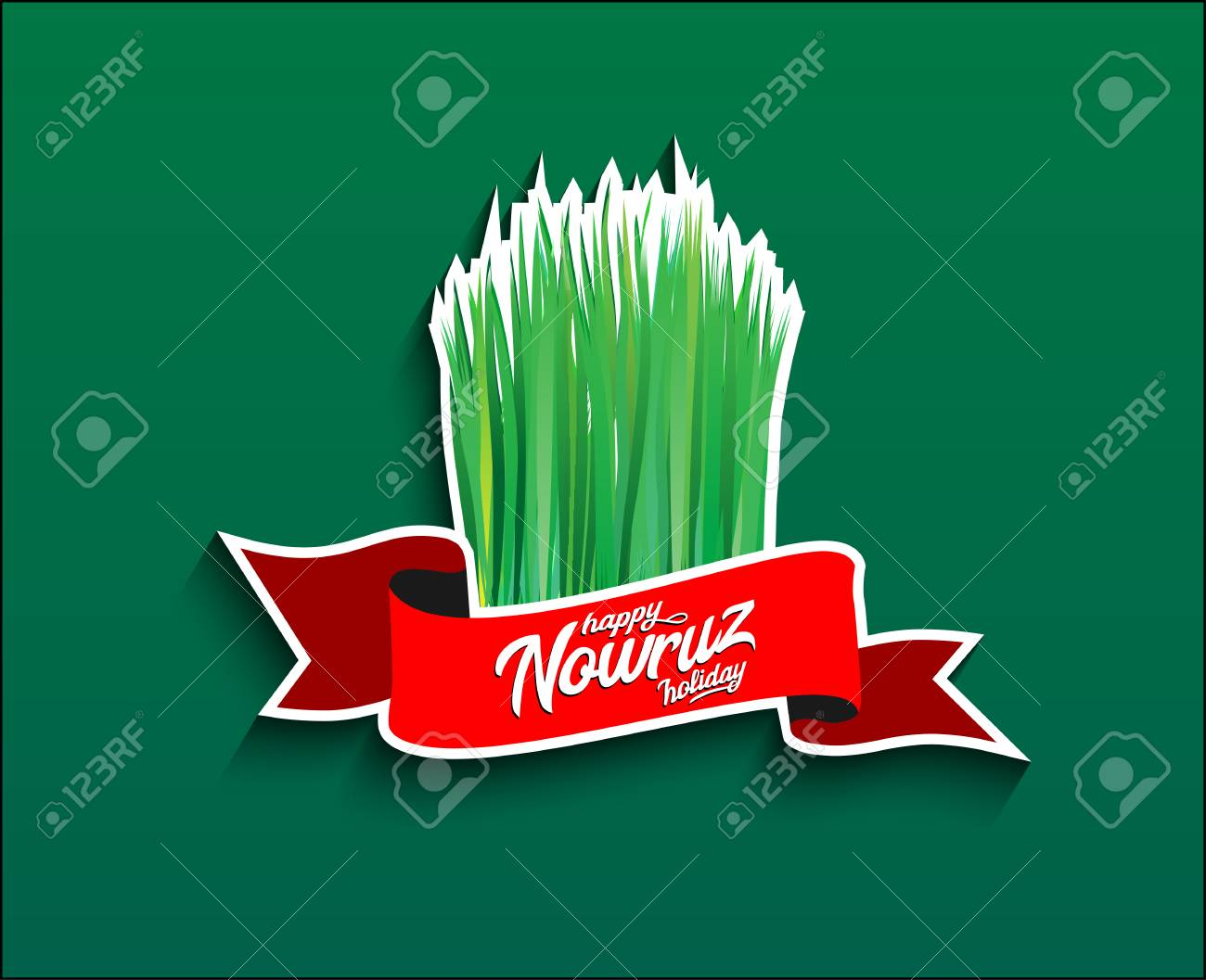 Holiday Nowruz Happy Nowruz With Grass Vector Illustration