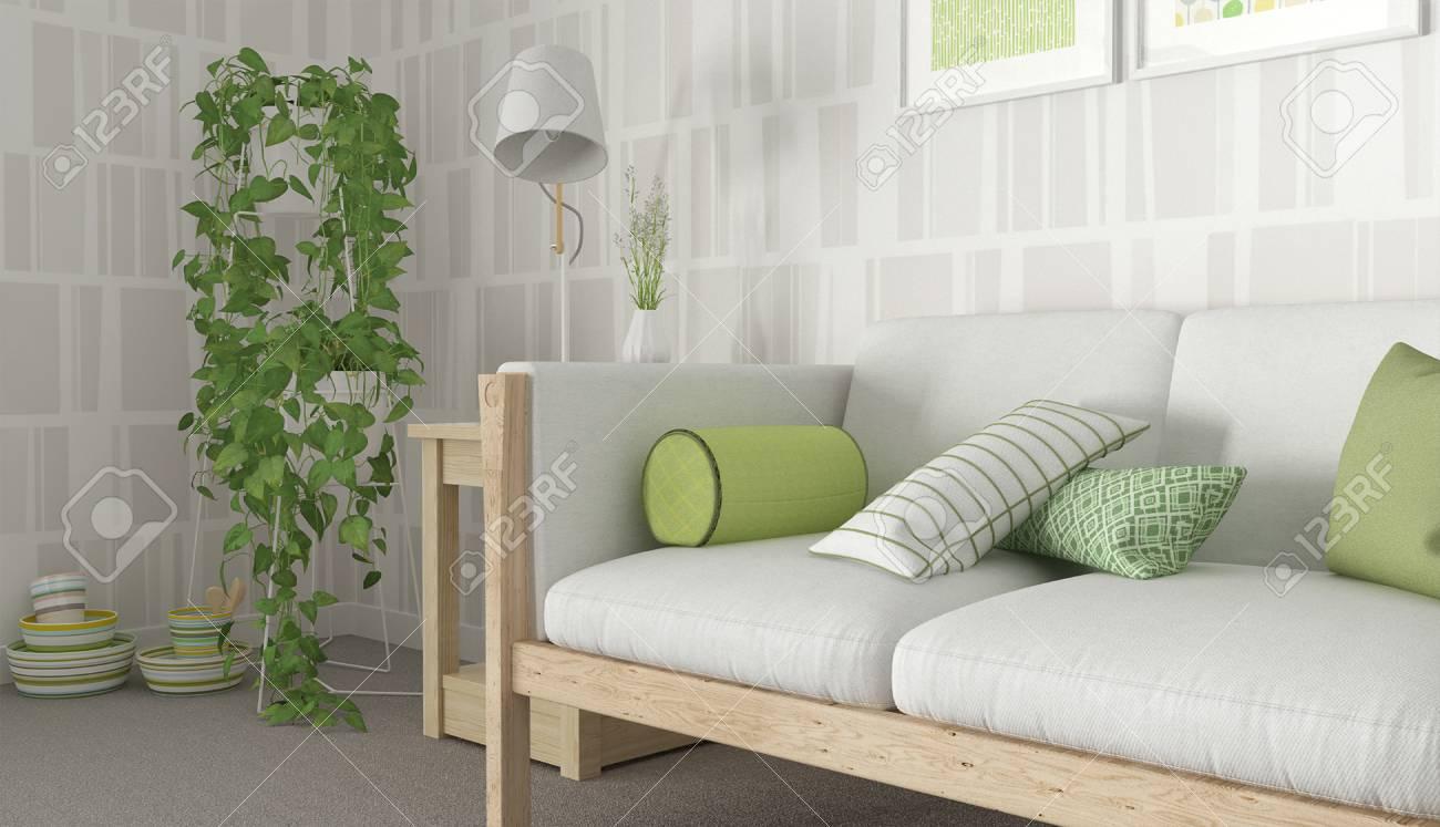 Grün-Weiß-Interieur Skandinavisch Lizenzfreie Fotos, Bilder Und ...