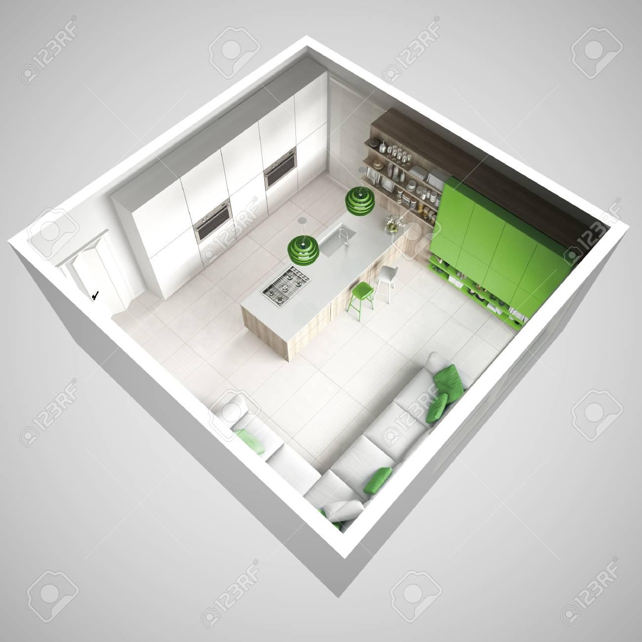 Minimalistische Weiße Küche, Mit Hölzernen Und Grünen Details ...